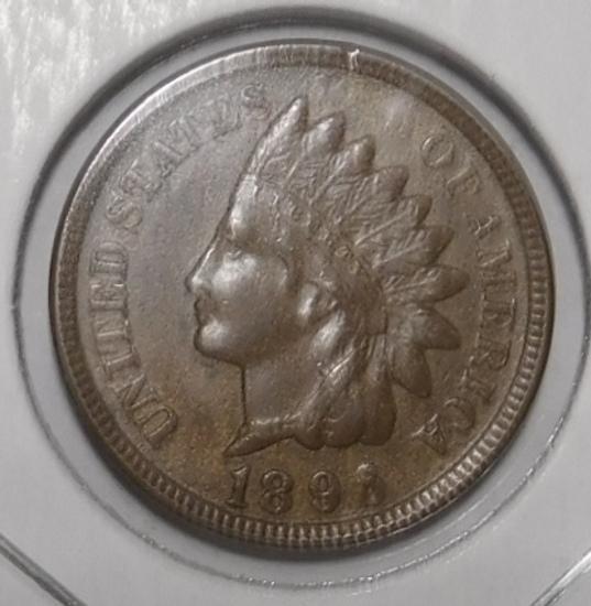 1896 INDIAN CENT AU-58