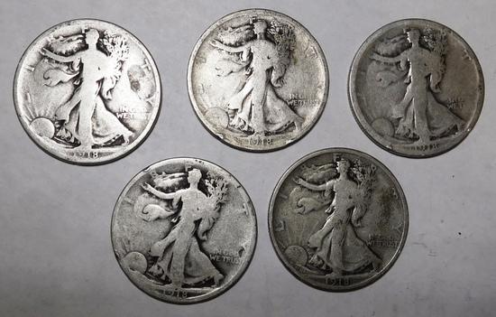 LOT OF FIVE 1918PDS WALKER HALVES GD-FINE (5 COINS)