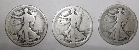 LOT OF THREE 1917PDS WALKER HALVES GOOD (3 COINS)