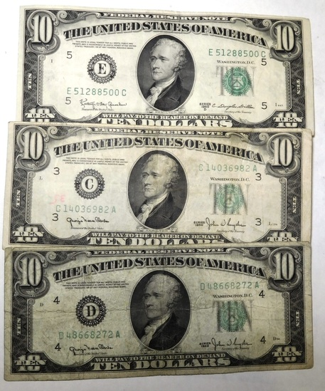 LOT OF THREE $10.00 FEDERAL NOTES F-XF (3 NOTES)