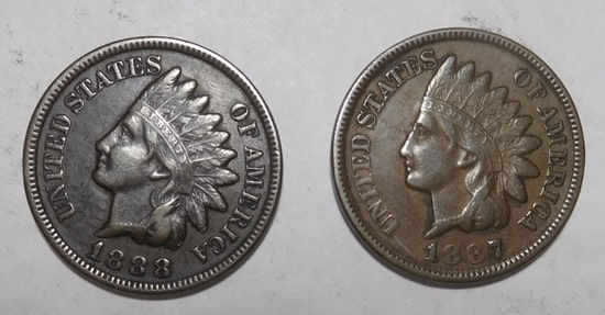 1887 & 1888 INDIAN CENTS VF (2 COINS)