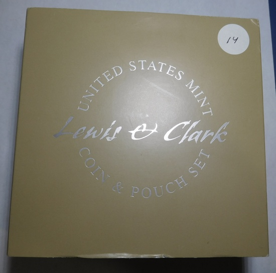 2004 LEWIS & CLARK PROOF SILVER DOLLAR/POUCH SET