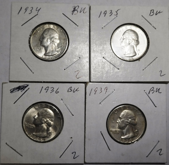 LOT OF FOUR 1934-1939 WASHINGTON QUARTERS AU++/CH BU (4 COINS)