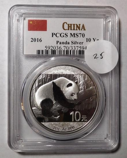 2016 PANDA 10 YEN SILVER PCGS MS-70
