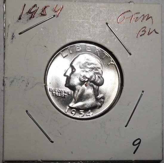 1954 WASHINGTON QUARTER GEM BU