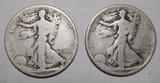 LOT OF TWO 1918 WALKER HALF DOLLARS G/VG (2 COINS)