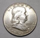 1951 FRANKLIN HALF DOLLAR AU