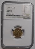 1854 $2.50 QUARTER EAGLE GOLD NGC AU-58