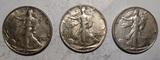 LOT OF 1942, 1945 & 1947 WALKER HALF DOLLARS AU-58 (3 COINS)