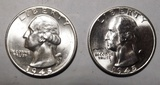 LOT OF 1945 & 1945-S WASHINGTON QUARTERS GEM BU (2 COINS)