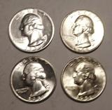 LOT OF FOUR 1950/1951PD WASHINGTON QUARTERS GEM BU (4 COINS)