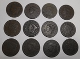LOT OF TWELVE LARGE CENTS (SOME CULLS - 12 COINS)
