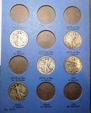 PARTIAL SET WALKER HALF DOLLARS 1917-1936-D GOOD-XF (16 COINS)