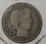 1894-S BARBER HALF DOLLAR G/VG