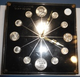 LAST UNITED STATES SILVER COINAGE CLOCK (12 SILVER 1964 BU COINS, CLOCK NEEDS WORK)