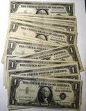 LOT OF TWENTY SIX $1.00 SILVER CERTIFICATES VG-XF (26 NOTES)