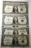LOT OF SEVEN 1935 $1.00 SILVER CERTIFICATES VG-VF (7 NOTES)
