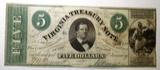 1862 VIRGINIA TREASURY NOTE VF/XF