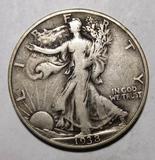 1938-D WALKER HALF DOLLAR VF