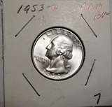 1953-D WASHINGTON QUARTER GEM BU