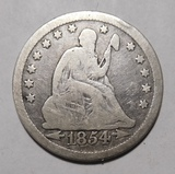 1854 ARROWS LIBERTY SEATED QUATTER VG