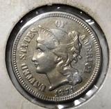 1874 THREE CENT NICKEL AU-58/UNC
