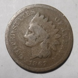 1867 INDIAN HEAD CENT GOOD (OBV SCRATCHES)