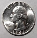 1947 WASHINGTON QUARTER GEM BU