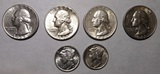 LOT OF SIX EARLY DATE SILVER QTRS. & DIMES CH AU (6 COINS)