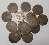 LOT OF FIFTEEN TWO CENT PIECES VARIOUS GRADES (15 COINS)