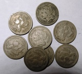 LOT OF EIGHT MIXED DATE THREE CENT NICKELS VARIOUS GRADES (8 COINS)
