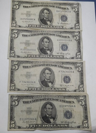 LOT OF FOUR 1953 $5.00 SILVER CERTIFICATES & FOUR 1963 $5.00 FEDERAL NOTES VG-AU (8 NOTES)