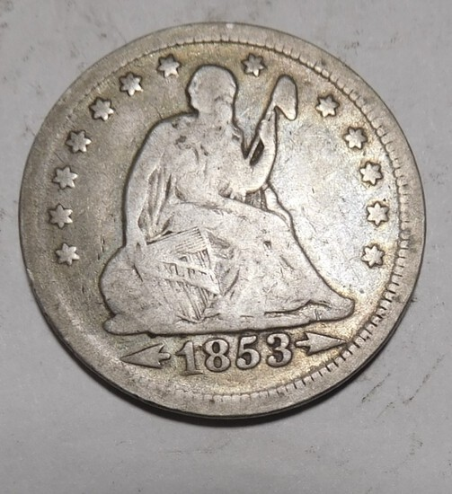 1853 ARR./RAYS SEATED QUARTER VG/FINE