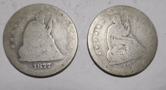 LOT OF TWO LIBERTY SEATED QTRS. (2 COINS)