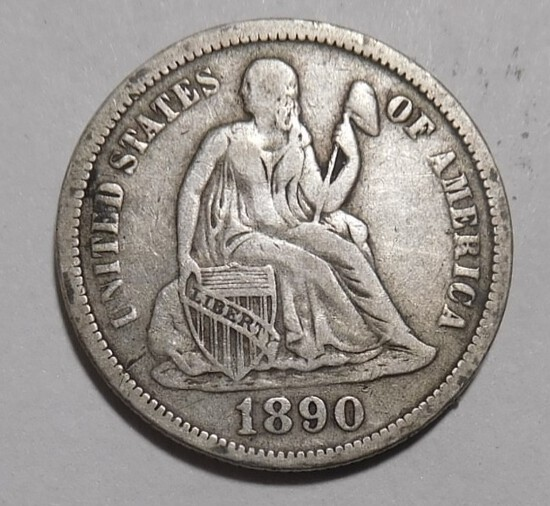 1890 LIBERTY SEATED DIME VF