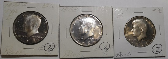LOT OF 1968-S, 1974-S & 1979-S PROOF KENNEDY HALVES (3 COINS)