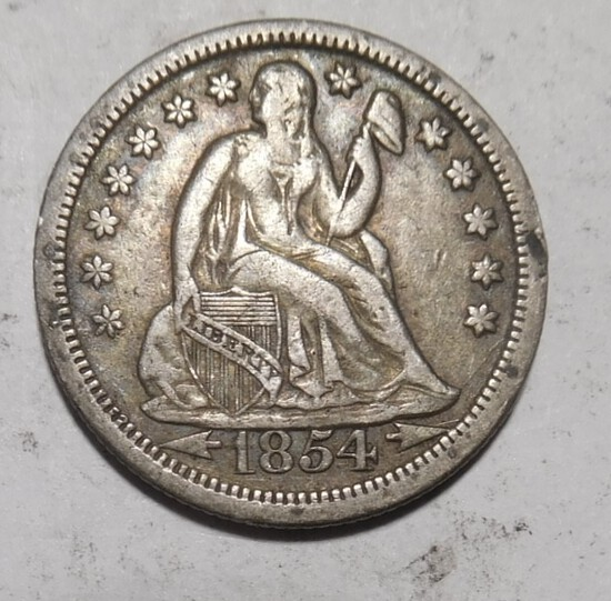 1854 ARROWS LIBERTY SEATED DIME XF