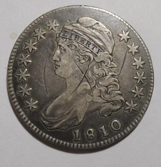 1810 BUST HALF DOLLAR VF/XF (OBV. SCRATCH)