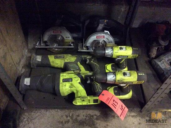 Lot of Ryobi battery operated hand tools including (2) sawzalls, (2) drills, and (2) circular saws