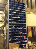 Lot of asst hose crimping connectors and asst hose, CONTENTS OF 2 PARTS BINS AND HOSE RACK