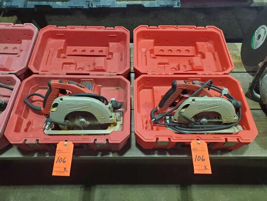 Lot of (2) Milwaukee 7 1/4 inch circular saws with cases