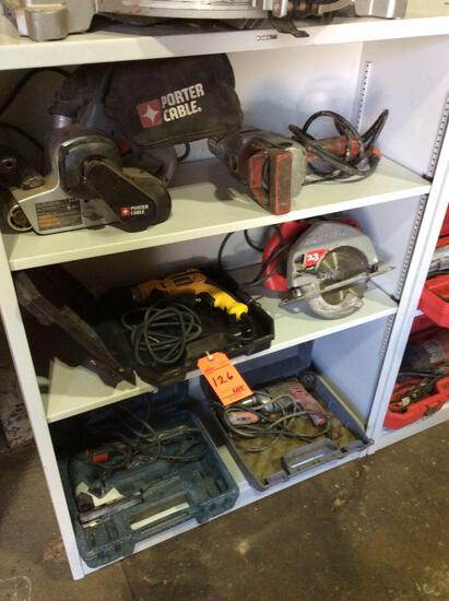 Lot of asst hand tools including sawzalls, drills, circular saws, jig saws, belt sanders, etc