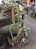 Lot of asst acetylene cutting torch items including (1) cart, asst lengths of hoses, and equipped
