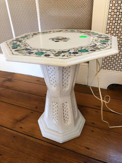 "Inlaid Marble lighted plant stand 18"" x 17"", comes from India Taj Mahal"