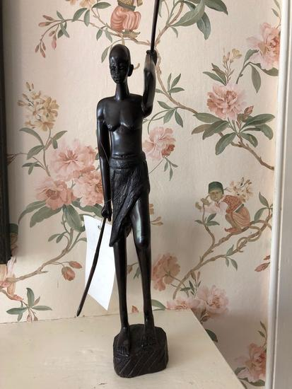 "Wooden decorative Masia African carved art, detachable spear, 15"" tall approximately"