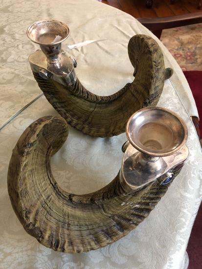 Ram horn candle holders plastic
