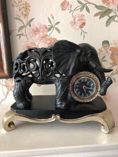 """Bombay elephant clock 9"""" tall"""