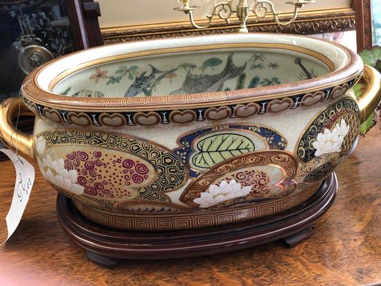 "Chinese ornate fish bowl with stand, 18"" x 11"" x 6"""
