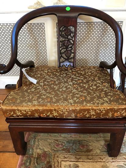Chinese Wooden vintage chair, cushion, decorative wood backed, rose wood (hardwood)