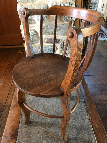 "Vintage wooden chair 30"" height, unique barrel back style"